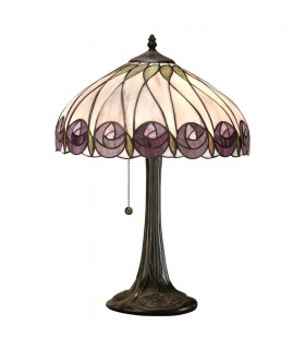 1 Light Medium Table Lamp Tiffany Glass, Dark Bronze Paint with Highlights