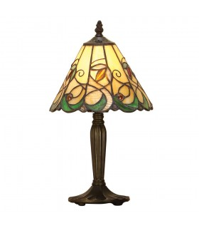1 Light Table Lamp Tiffany Glass, Dark Bronze Paint with Highlights, E14