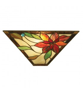 1 Light Indoor Wall Uplighter Dark Bronze with Tiffany Glass, E14