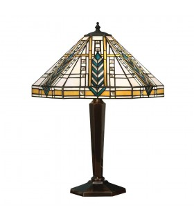 2 Light Medium Table Lamp Tiffany Glass, Deep Antique Patina, E27