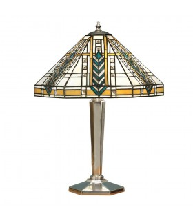 2 Light Medium Table Lamp Polished Aluminium, Tiffany Glass, E27