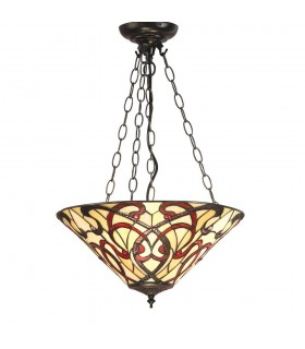 3 Light Medium Inverted Ceiling Pendant Bronze, Tiffany glass
