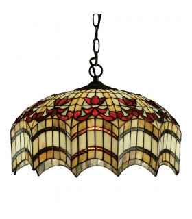 3 Light Medium Ceiling Pendant Dark Bronze, Tiffany glass