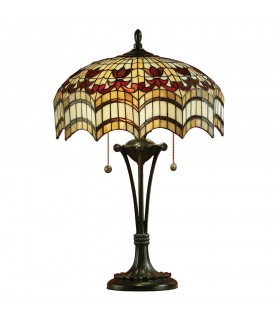 2 Light Medium Table Lamp Dark Bronze, Tiffany Glass, E27