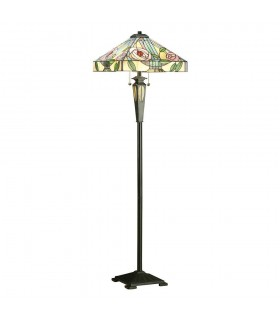 2 Light Floor Lamp Dark Bronze, Tiffany Style Glass, E27