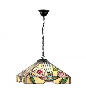 3 Light Large Ceiling Pendant Dark Bronze, Tiffany Style Glass