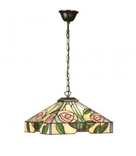 Willow Medium Tiffany Style Three Light Ceiling Pendant - Interiors 1900 64385