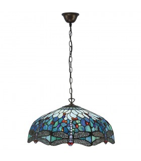 3 Light Large Ceiling Pendant Bronze, Blue, Dragonfly Tiffany Glass