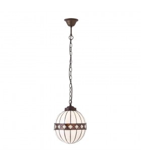 1 Light Small Globe Ceiling Pendant Dark Bronze, Tiffany glass