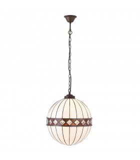 1 Light Medium Globe Ceiling Pendant Dark Bronze, Tiffany glass