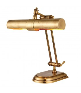 2 Light Banker Table Lamp Brass, E14