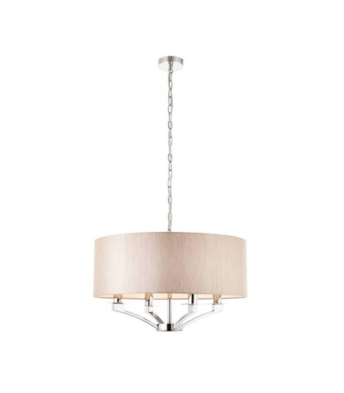 Four Light Ceiling Pendant With Beige Single Shade
