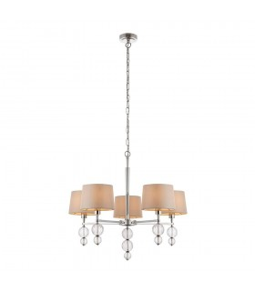 Darlaston Five Light Ceiling Pendant With Marble Silk Shades - Interiors 1900 70214