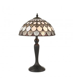 2 Light Small Table Lamp Dark Bronze, Tiffany Glass, E14