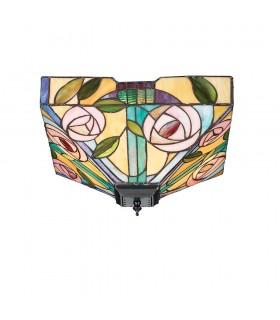 Willow Medium Tiffany Style Two Light Flush Ceiling Fixture - Interiors 1900 70699