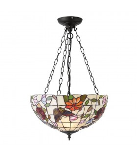 3 Light Medium Ceiling Pendant Bronze, Tiffany Style Glass