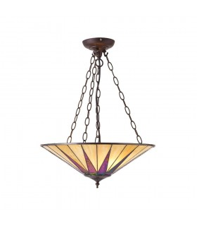 3 Light Large Ceiling Pendant Bronze, Amber, Tiffany Glass
