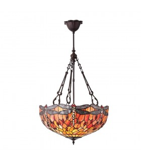 Dragonfly Large Tiffany Style Flame Inverted Three Light Ceiling Pendant
