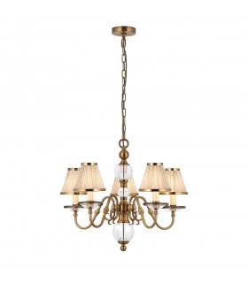 Antique Brass Five Light Ceiling Pendant With Beige Shades