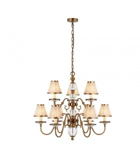 Antique Brass Nine Light Ceiling Pendant With Beige Shades