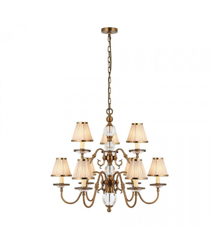 Tilburg Antique Brass Nine Light Ceiling Pendant With Beige Shades - Interiors 1900 70820