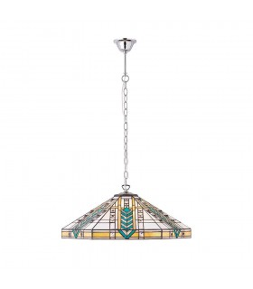 3 Light Large Ceiling Pendant Tiffany glass, chrome effect plate, E27