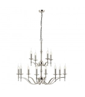 12 Light Chandelier Polished Nickel Plate Finish