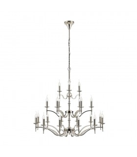 21 Light Chandelier Polished Nickel Plate Finish, E14