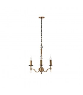 3 Light Multi Arm Ceiling Pendant Chandelier Antique Brass
