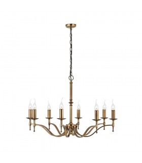 8 Light Chandelier Antique Brass Finish