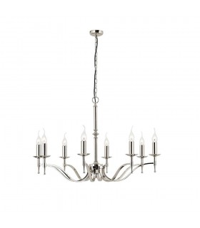 8 Light Chandelier Polished Nickel Plate Finish, E14