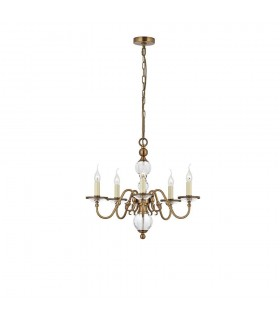 5 Light Multi Arm Ceiling Pendant Chandelier Antique Brass, Crystal