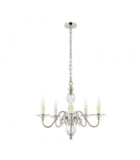 5 Light Multi Arm Ceiling Pendant Chandelier Polished Nickel, Clear Crystal, E14