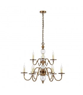 9 Light Chandelier Crystal, Antique Brass Finish, E14