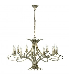 12 Light Chandelier Brushed Brass Effect Plate Finish, E14