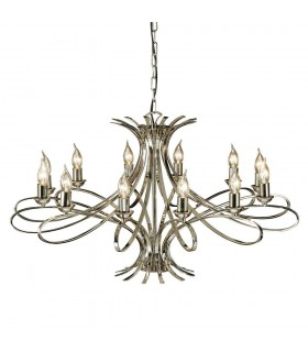 12 Light Chandelier Polished Nickel Plate Finish, E14
