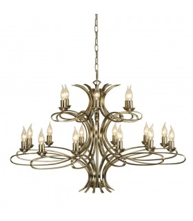 18 Light Chandelier Brushed Brass Effect Plate Finish, E14