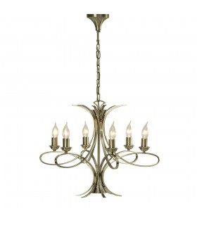 Penn Brushed Brass Six Light Ceiling Pendant - Interiors 1900 CA7P6BB