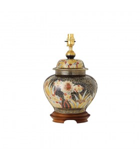 1 Light Table Lamp Hand Painted Design with Gold and Mahogany - Base Only