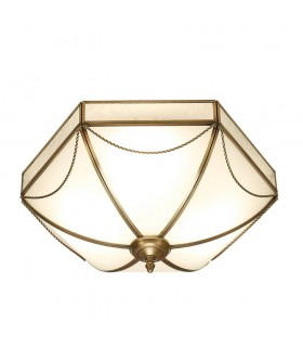 3 Light Ceiling Flush Light Antique Brass, Frosted Glass