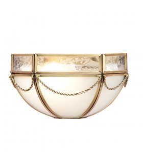 1 Light Indoor Wall Light Antique Brass with Frosted Glass