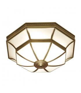 4 Light Ceiling Flush Light Antique Brass, Frosted Glass
