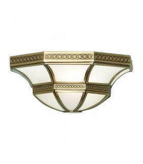 1 Light Indoor Wall Uplighter Antique Brass with Frosted Glass, E14