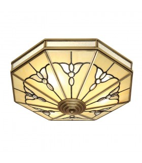 Gladstone Tiffany Style Four Light Flush Ceiling Fixture - Interiors 1900 SN03FL46