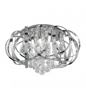 Tilly Chrome 3 Light Indoor Flush Ceiling Light Fixture - Searchlight 5973-3CC