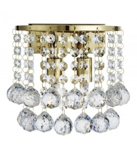 2 Light Indoor Wall Light Gold with Crystals, G9
