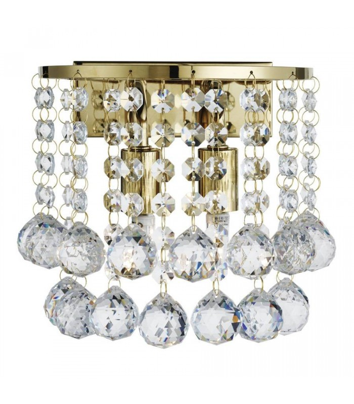 Gold 2 Light Round Wall Fixture With Crystal Balls