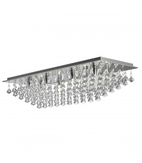 8 Light Rectangle Ceiling Flush Light Chrome with Pyramid Crystals