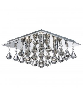 Hanna Chrome Square 4 Light Semi Flush Ceiling Fixture With Pyramid Crystals - Searchlight 7304-4CC