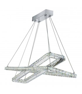 Integrated LED Ceiling Pendant Light Chrome with Crystals